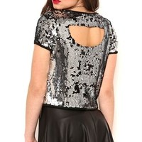 Short Sleeve Sequin Top with Keyhole Back