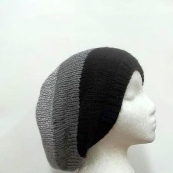 Knitted slouchy beanie hat black and gray hand knitted  5087