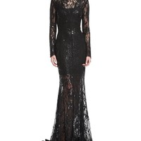 J. Mendel Long-Sleeve Sequined Lace Turtleneck Gown