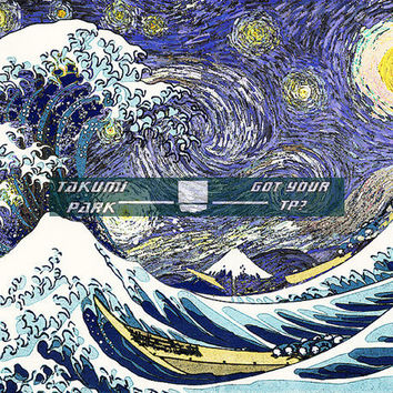 Starry night, The Great Wave, art print, japan art, Vincent Van Gogh, blue art, blue decor, art fusion pop art wall art decor, homedecor