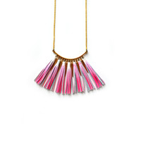Pink Statement Necklace, Ombre Tassel Necklace, Leather Tassel Jewelry, Brass Geometric Necklace, Neon Leather Bib Necklace