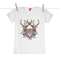 Quirky Illustrated Gifts | Forest Friends Womens T-shirt | Kris Tate | New | Apparel | Womens | Ohh Deer