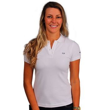 Women's Classic Polo in White by Vineyard Vines, Featuring Longshanks the Fox