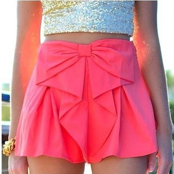 Cute bowknot High Waist Shorts