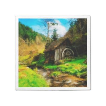 Retro Old Mill In Mountain Valley On Small River Napkin