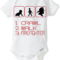 1. Crawl 2. Walk 3. Firefighter Silhouette - New Baby Gift: Gerber Onesuit brandbody suit - for a new mom or dad who is a Fireman / Fire man
