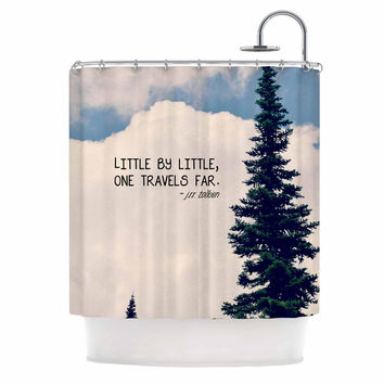 "Robin Dickinson ""Little By Little"" Clouds Typography Shower Curtain"
