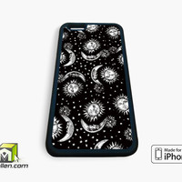 Sun and Moon Black and White Pattern Vintage Retro Tumblr Inspired Custom iPhone Case 4, 4s, 5, 5s, 5c, 6 and 6 plus by Avallen
