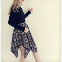 Autum Classic Cute Preppy Style High Waist Classic Warm Woman Mid Irregularity Plaid Skirt -in Skirts from Women's Clothing & Accessories on Aliexpress.com   Alibaba Group