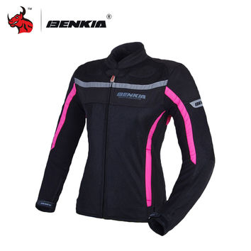 BENKIA Women's Motorcycle Jackets Motocross Riding Equipment Gear Cold-proof Moto Jacket For Spring Summer Autumn