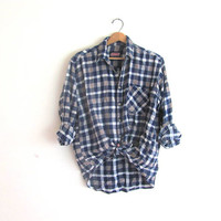 20% OFF SALE / Vintage washed out blue Plaid Flannel / Grunge Shirt / cotton button up shirt