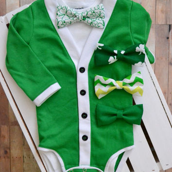 Spring Infant Baby Cardigan and Bow Tie: Green and White with Interchangeable Bow tie Shirt and Bow Tie Short or Long Sleeve