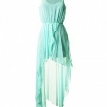 LOVE Aqua Chiffon Asymmetrical Maxi Dress - Love
