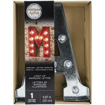 Darice Metal Marquee Letter A - Galvanized Silver 9.875 Inches