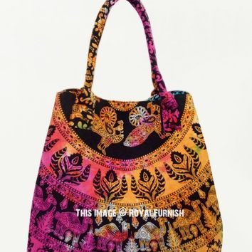 Black Multi Elephant Medallion Boho Beach Tote Bag on RoyalFurnish.com