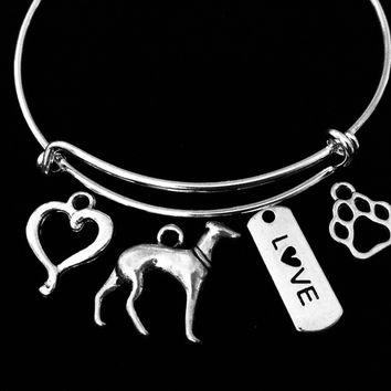 Greyhound Charm Bracelet Silver Expandable Adjustable Bangle Love Paw Print One Size Fits All Jewelry Meaningful Dog Lover Gift