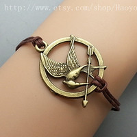 Bronze  Hunger Game Bracelet  Brown wax cord  Vintage by Haoyou