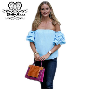 BellyAnna 2016 Summer Women Tencel Blue Top Off Shoulder Half Sleeve Shirts Loose Elastic Ruffle Blouses Female Party Beach Wear