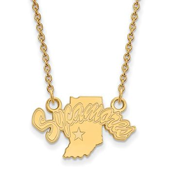 NCAA 14k Yellow Gold Indiana State Small Sycamores Pendant Necklace