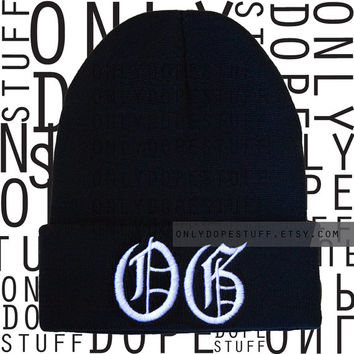 OG Beanie Old English Original Gangsta Beanie Womens Mens Girls Boys Black and White Thug Life Gangster Beanie