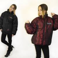 Puffy jacket / Vintage double sided reversible jacket / Ecko function winter jacket /   Bulky puffer jacket / Real feather puffy jacket /