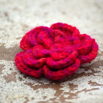 Flower Brooch Crocheted from Multicolor Yarn in Red by dodofit on Etsy