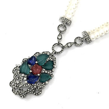 Fruit Salad Glass Pendant Necklace, Double Strand Faux Pearls, Silver Tone, Red Blue Green Molded Art Glass Leaves, Ice Crystals, Vintage