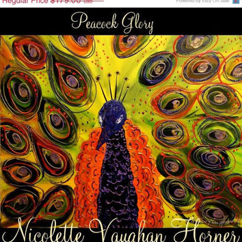 ON SALE ORIGINAL Oil Abstract Textured Peacock Oil Painting Thick Texture Gallery Fine Art -Nicolette Vaughan Horner