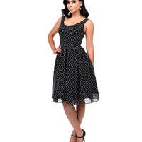 Unique Vintage Black & White Polka Dot Barcelona Chiffon Swing Dress