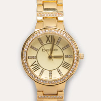 bebe Womens Crystal Bezel Link Watch Gold