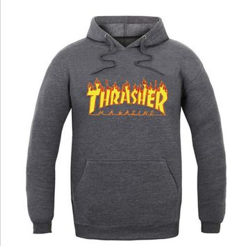 ThrasherMen and women with the flame hooded couples sweater Dark grey
