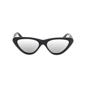 Black Mirrored Lens Cat Eye Sunglasses