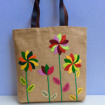 Bold flowers on jute, colorful tote bag,appliqué, embroidered,beach tote bag, handmade tote bag, Casual Tote Bagj