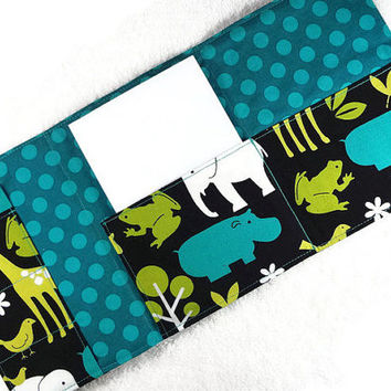 Boy crayon wallet, crayon notebook, boy coloring wallet, boy art case, travel coloring case, crayon caddy, animal zoo elephant jungle teal