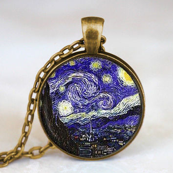 New Steampunk Van Gogh Almond Branch in Bloom Art Pendant Necklace doctor who 1pcs lot women mens vintage chain charming Wedding