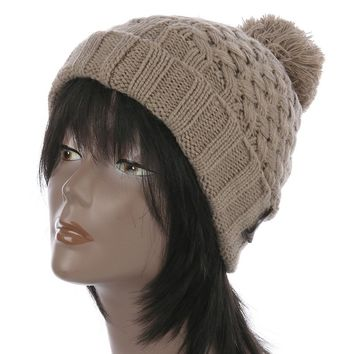 Khaki Pom Pom Cable Knit Winter Beanie Hat And Cap