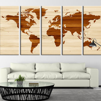 Rustic World Map Art Print, Extra Large Rustic Canvas World Map Print, Brown World Map No:009