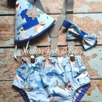 Baby Boys Shark Cake Smash Set, Boys 1st Birthday Outfit, Shark Birthday, Nautical Cake Smash