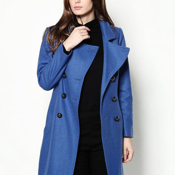 Blue Double Breasted Woolen Lapel Coat