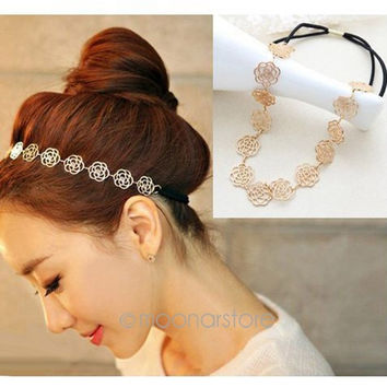 Fashion New Lovely Metallic Lady Hollow Rose Flower Elastic Hair Band Headband = 1932916548