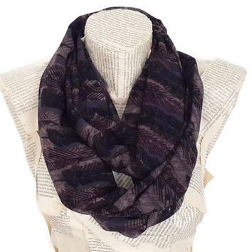 Cute Fashion İnfinity Scarf, Girly, Chiffon, with Leaf and Feathers Print, Tube Scarf, Women Accessories