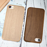 Vintage Wood PU Leather Back Cover Cases For Iphone 7 7Plus 6 Plus Wooden Bamboo Pattern Phone Cases For Iphone7 Plus 6S Iphone5 -Girllove100