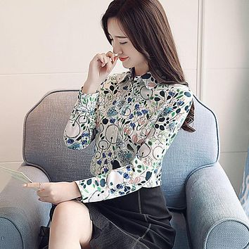 DHIHKK 2018 New Style Bamboo Leaves Print Shirts Formal Work Blouse Size S-2XL  Womens