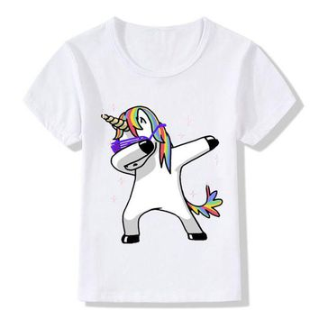 DCCKU7Q Kid's Dabbing Unicorn Cartoon T-Shirts Boys/Girls Funny Tops T shirt Children Cool Rabbit/Cat/Pug Baby Casual Clothes,HKP2081
