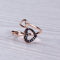 "Double Heart Ring, Rose Gold Ring, Stackable Ring, Infinity Heart Ring, Love Ring, Black Heart ring, Knuckle Ring, Thumb Ring, ""Smaragos"""