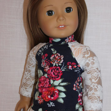 18 inch doll clothes, white lace sleeve floral baseball tee, american girl ,maplelea