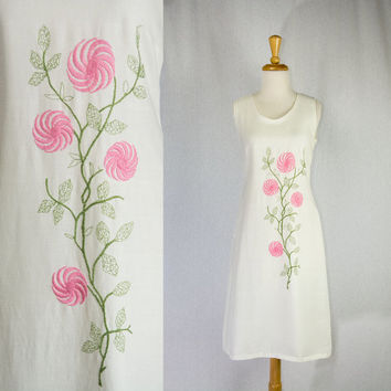 Vintage 1960's Shift Dress Mod Pink Embroidered Flowers Adorable