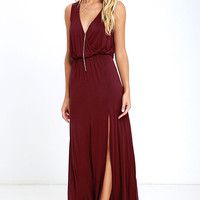 Racing Hearts Wine Red Maxi Dress