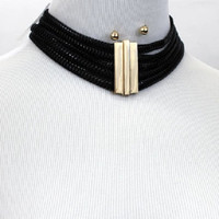"12.50"" thick 5 row choker collar necklace .30"" earrings layered 1.80""  wide"