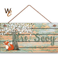 "Teacher Sign, Fox Under Tree Personalized Sign, Teacher's Name, Classroom Door Sign, Gift For Teacher, 5"" x 10"" Sign, Made To Order"